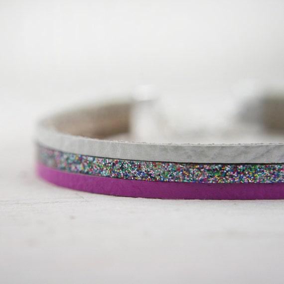 leather bracelet in purple, grey, and sparkly rainbow glitter - adjustable leather bracelet