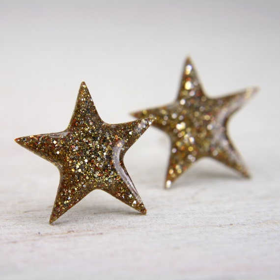 star post earrings in sparkly gold galaxy earrings glitter stud sterling silver jewelry