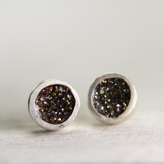 organic silver post earrings with gold sparkles organic silver post earrings glitter jewelry