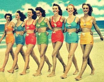 Beach Art Print, Summer Outdoors Gift, Beach Bachelorette Party, Summer Outdoors Art Beach Bachelorette, beach decor vintage swimsuit art