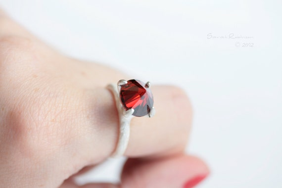 Sterling Prong Ring With Garnet White Silver Engagement Organic Solitaire T10