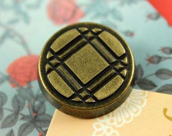 Metal Buttons - Lattice Metal Buttons , Antique Brass Color , Shank , 1 inch , 10 pcs