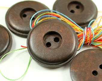 Wooden Buttons - Antique Round Cascading Recessed Center Brown Wood Buttons, 1.18  inch (10 in a set)