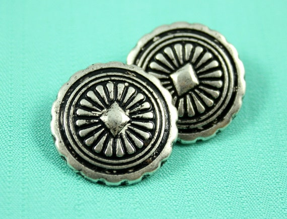 Metal Buttons - Gem Rays Metal Buttons , Antiqued Silver Color , Shank , 0.83 inch , 10 pcs