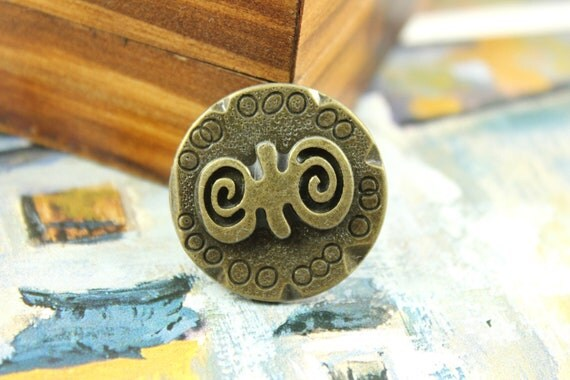 Metal Buttons - Fab Set 6 Strange Double Spiral Emboss Pattern Weighty Copper Large Buttons. 1.18 inch.
