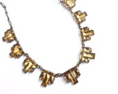 Antique Art Deco Necklace -  Yellow Glass 1920s Costume Jewelry / Geometric