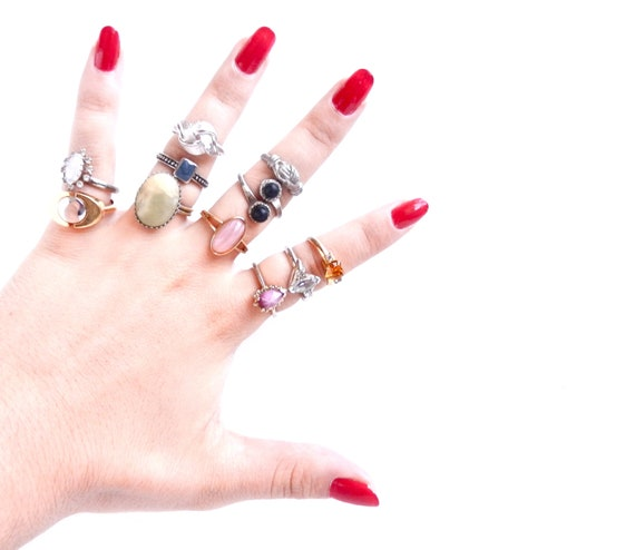 Vintage Ring Lot - Huge Costume Jewelry Destash of 11 Rings  - Pretty Fingers