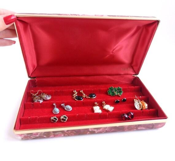 Vintage Earring Travel Case -  Designer Mele Red & Pink Jewelry Box / Retro Roses