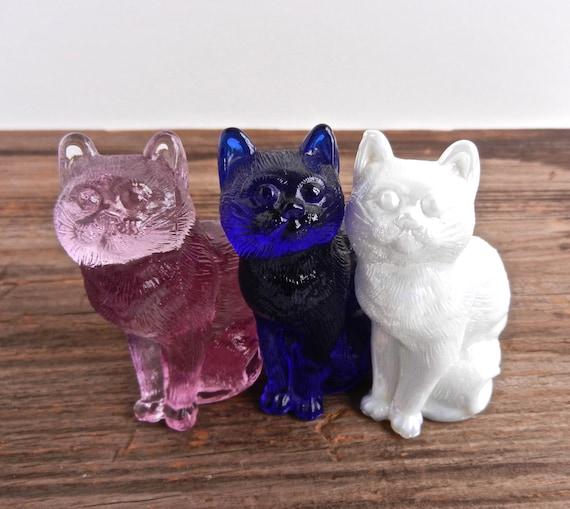 Vintage Glass Sitting Cats - Lot of Three Designer Mosser Cats / Cobalt Blue, Milk White, & Cranberry