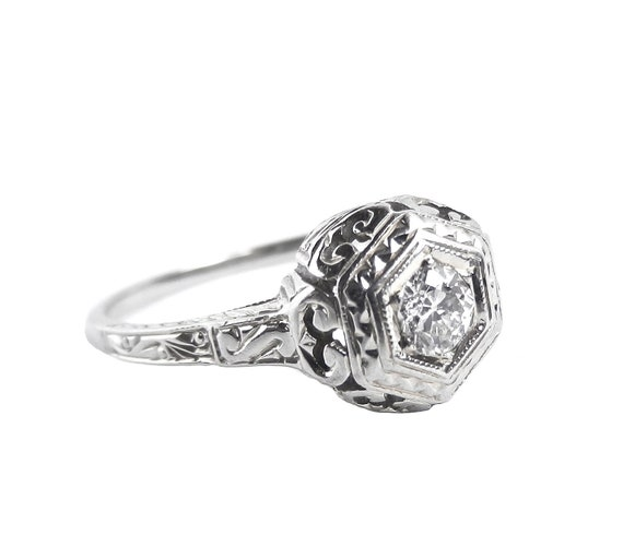RESERVED 18K Gold Art Deco Diamond Ring - Antique White Gold Size 7 Engagement Fine Jewelry / Wedding Ring