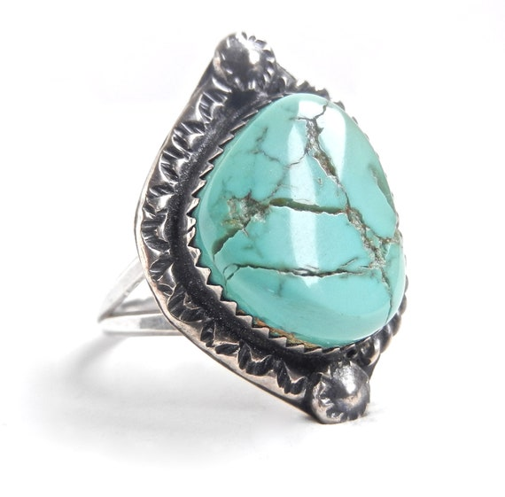 Huge Vintage Sterling Silver Turquoise Ring - Size 9.5 Native American Jewelry / Cracked Teal
