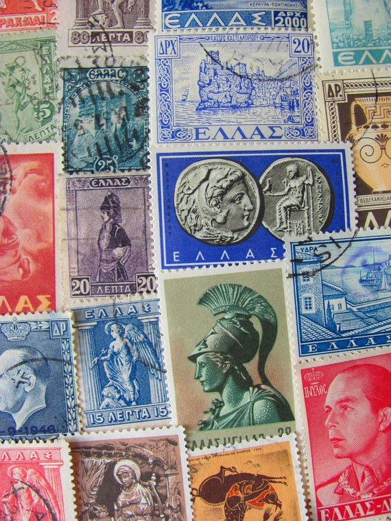 Grecian Love 50 Vintage Greek Worldwide Postage Stamps Philately Greece Athens Cyprus Kibris Ancient Ruins Hellas