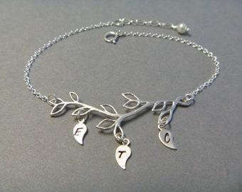 Family Initial Bracelet, Silver, Branch Bracelet, Hand Stamped Leaf Initials