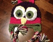 Custom Made Fleece Lined Owl Hat.