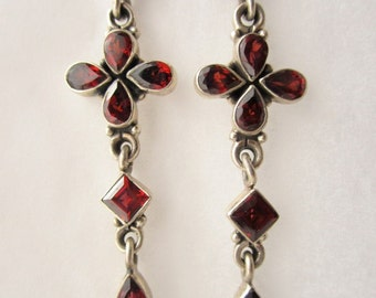 Vintage Silver Dangle Earrings with Garnets
