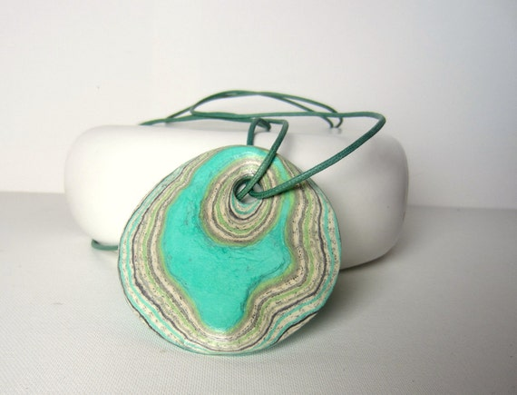 Turquoise Statement Necklace - Pendant made of Book Pages and emerald papers