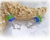 Beach Glass Earrings - Blue Green Star Earrings
