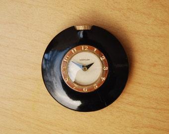 Small Westclox Vintage Black Mini Ladies Purse Clock