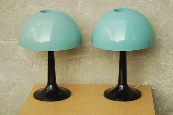Vintage Softlite Mushroom Lamps in Aqua & Black with Tulip Bases