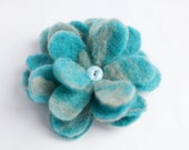 grey and blue ooak handfelted flower brooch