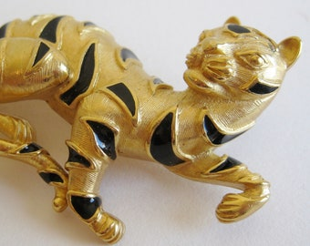 Vintage 60s Gold & Black Enamel TRIFARI Exotic Tiger Jungle Cat Brooch Pin