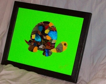 "Real Butterfly Wings Framed "" Turtle""  Collage"
