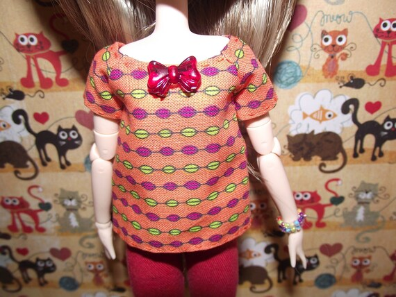 Orange with pink and green dot shirt t-shirt for Pullip