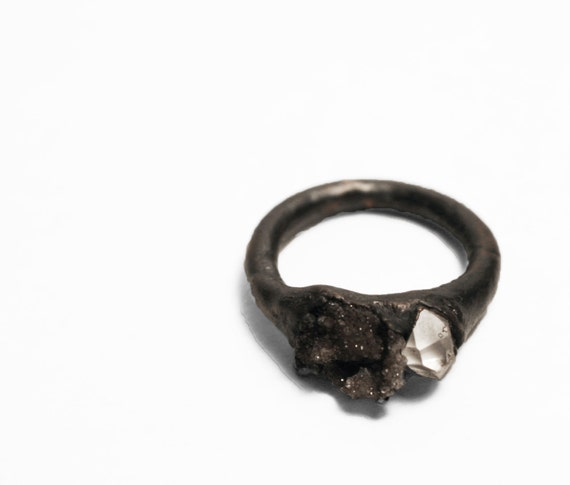 Fulgerite and Herkimer Diamond Copper Ring (6.5)