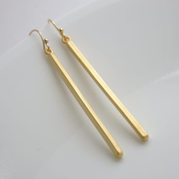 Gold Long Bar Earrings Dangle Earrings -> Bar DAngle Conforama
