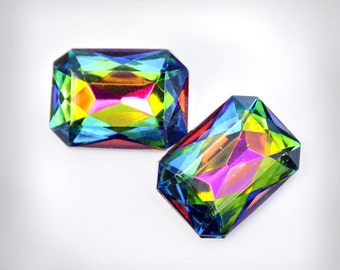 18x13mm INTENSE Vitrail Glass Octagon Jewels Gems Stones, foiled backs, faceted backs, Quantity 2
