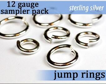 7 pcs 12g jump ring sampler pack sterling silver assortment pack jump rings 12gsamp 12 gauge 925