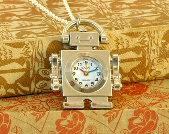 Silver Robot Pocket Watch Necklace - Really Works
