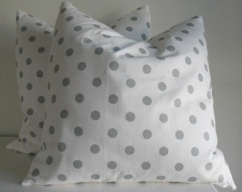 NEW TWO 18 x  18 Grey and White Polka Dot Pillow Covers