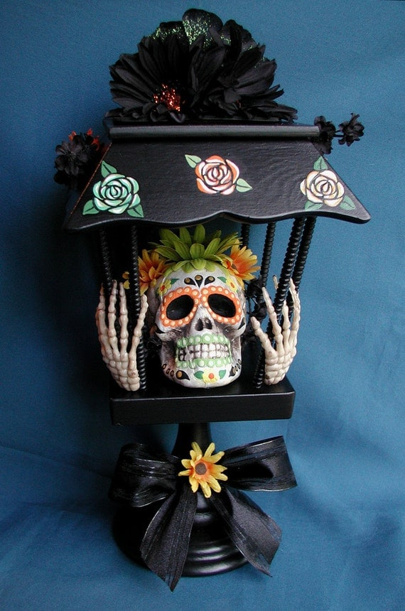 SALE Halloween Day Of The Dead Sugar Skull Light Up Centerpiece Decoration One Of A Kind