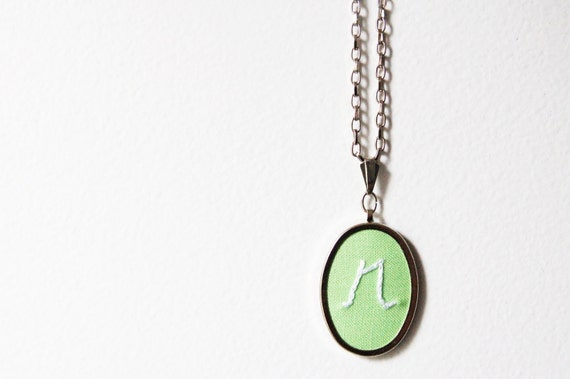 Merriweather Council Hand Embroidered Initial Necklace. Custom Embroidered Pendant Made Just for You.