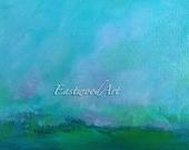 """Mauve Clouds Landscape Art, Sky Blue, Small ACEO Original Painting 6"""" x 4"""""""