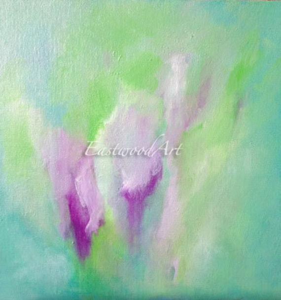 "Abstract Landscape Original Art ""Morning Green""  Blue  8"" x 8"""