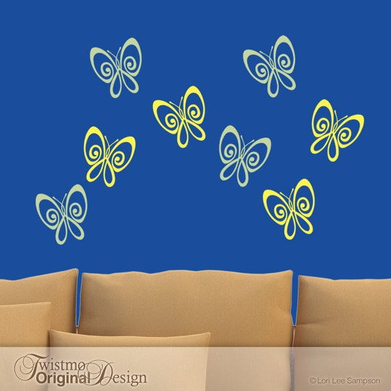 Vinyl Wall Decals: 8 Wall Butterflies in 2 Colors for Your Bedroom Decor or Nursery