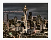 Seattle Skyline Christmas Eve, Fine Art Photograph, 5 Christmas Cards
