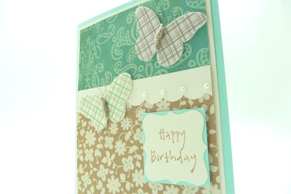 Butterfly Birthday Card for Her, Pastel Birthday Card, Handmade Paper Greeting Card, Aqua Card