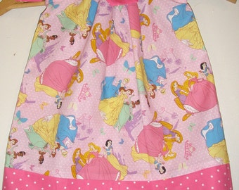 pink disney Princess  pillowcase dress (available in sizes  3,6,9,12,18, months 2t,3t,4t,5t,,6,7,8,9,10,12,14