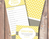 Yellow and Gray Baby Wishes Printable Baby Shower Printable Game Chevron Printable Wishes for Baby Game - INSTANT DOWLOAD