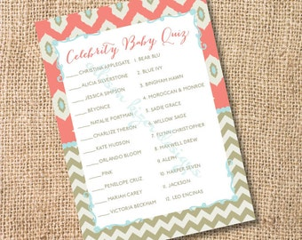 Boho Coral and Gold Ikat Chevron Printable Celebrity Baby Match Game - Baby Girl Baby Boy Gender Neutral Twins- INSTANT DOWLOAD