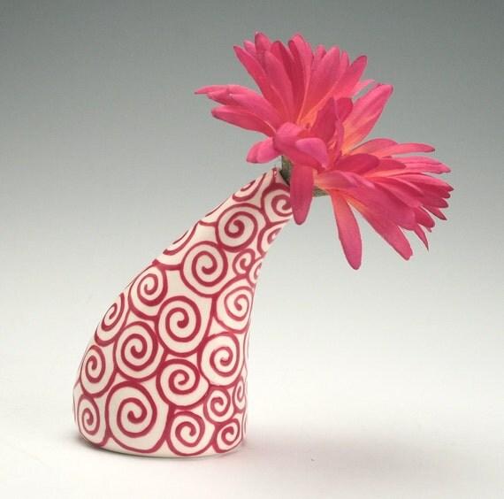 Red Swirl See Ya Later Tilt Vase Hand Painted Flower Holder