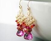 50% OFF SALE Pink Gemstone Chandelier Earrings, Cluster Earrings, Carnelian, Ruby, Pink Quartz, Orange, Rasberry Pink, Blush