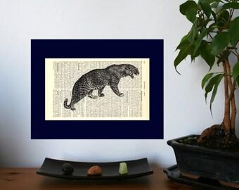 Big Leopard Vintage Art Print on Antique 1896 Dictionary Book Page