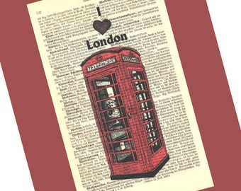I heart London Art Print on Antique 1896 Dictionary Book Page