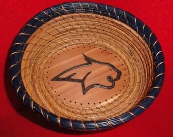 Pine Needle Basket w/Bobcat (READY TO SHIP)