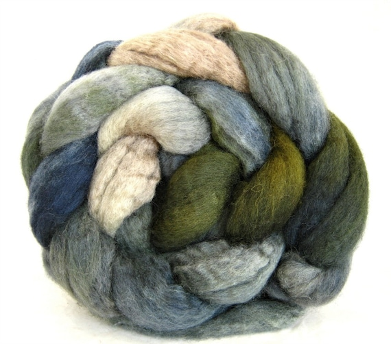 bfl combed top, BFL spinning fiber,  hand painted bfl roving,  wool roving