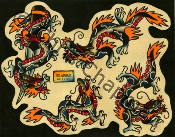 Americana Dragons Tattoo Flash